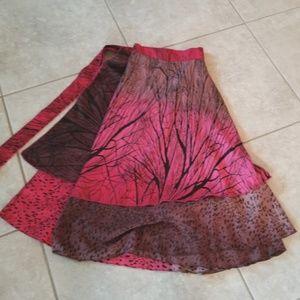 Iris Impressions red & brown reversible wrap skirt